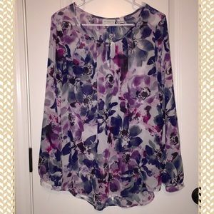  Purple Floral Sheer Tunic 