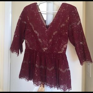 Anthropologie burgundy lace peplum top
