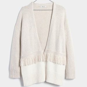 LOWEST Madewell Colorblock Fringe Cardigan