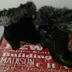 White mountain faux leather and fur ankle boots