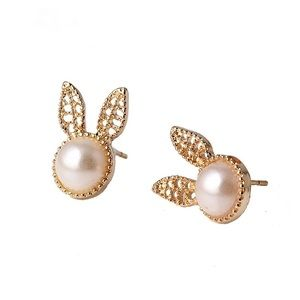 Jewelry - GOLD PEARL EASTER BUNNY EARRINGS