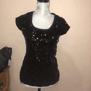 INC sequins black top