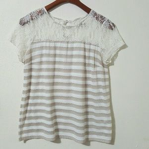 Romy Tops - Romy Lace Striped Keyhole back Short Sleeve Top XL