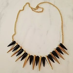Black and gold spiked necklace