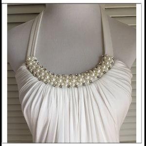 Alythea Tops - Crystal & Faux Pearl Shirred Top