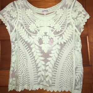 Tops - ⭐️ MOVING SALE ⭐️NWOT sheer lace mint greet top
