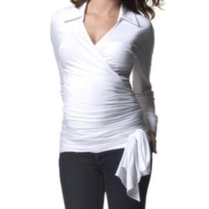 Isabella Oliver Tops - Isabella Oliver White Wrap Shirt Top Maternity