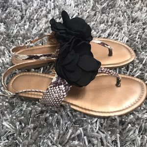 BCBGeneration Shoes - Sandals Flip Flops Women's 10.5 Black Rose Gold