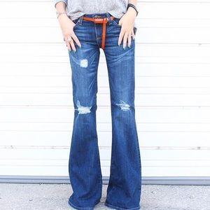 Just USA Denim - Dark Distressed Mid-Rise Flare Jeans