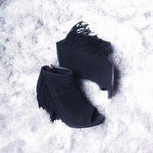 Shoes - Leanna Fringe Peep Toe Bootie