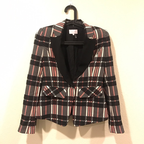 1.State Jackets & Coats - 1.State digital plaid structured blazer