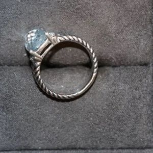 David Yurman 10x8 petite Wheaton diamondblue topaz