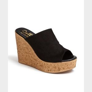 Callisto Shoes - Black suede wedges