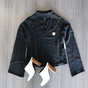 Black choker neck blouse