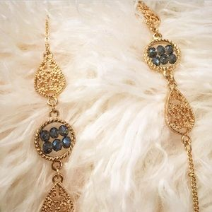 nOir Jewelry Jewelry - Noir 40 inch gold necklace with blue jewels