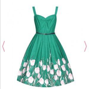 👗🌷 Bernice' Turquoise Tulip Swing Dress
