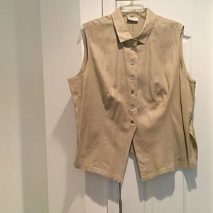 Lord & Taylor Tops - Ladies tan linen sleeveless button down blouse 24