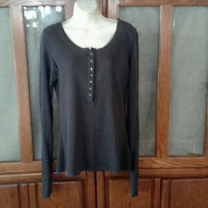 TWISTED HEART Tops - TWISTED HEART GRAY CRYSTAL BUTTON HENLEY