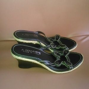 "A. Giannetti  Shoes - A. Giannetti 7.5 Black leather sandals 3"" wedges"