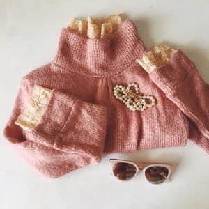 Vintage Sweaters - {vintage} • blush and rose pink lace wool sweater