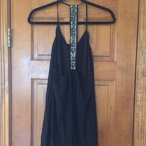 Silky black dress with open back detailing size m