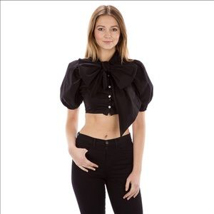 Auditions Tops - ✨ Couture Puff Sleeves Ribbon Blouse✨