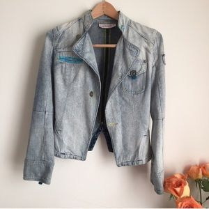 ASOS Jackets & Blazers - || • Light Wash Moto Denim Jeans Jacket
