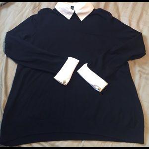 Classy black sweater - detachable collar & cuffs