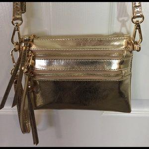bebe Handbags - Gold Metallic Crossbody bag
