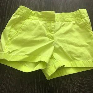 J.Crew neon yellow chino shorts