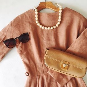 {vintage} • wool sheath dress in dusty rose