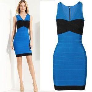 Herve Leger Dresses & Skirts - Herve Leger Blue and Black Hollis Bandage Dress