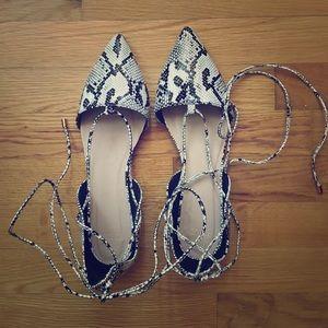 NWOT ASOS snakeskin lace-up flats
