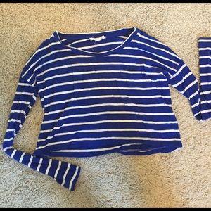 Blue striped long sleeve crop top