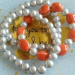 3 piece pearl bracelet set. Orange and grey summer