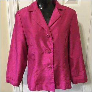 Pink three button blazer jacket