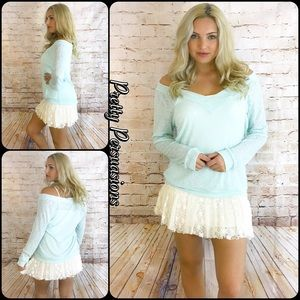 Pretty Persuasions Sweaters - Aqua Slouchy On - Off Shoulder Spring Knit Sweater