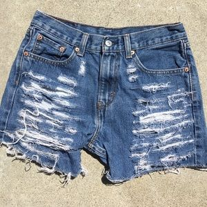 Street length destroyed shorts