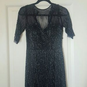 Adrianna Papell Long Navy Beaded Evening Gown