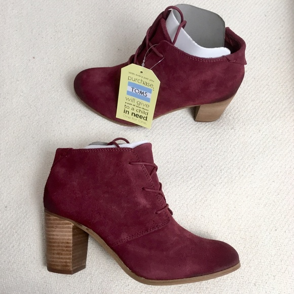 1b8c33ee65e TOMS Lunata Lace Up Burnished Oxblood Suede Boots