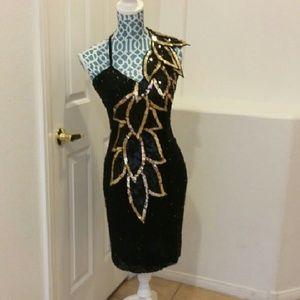 Stunning Vintage Black Tie Cocktail Dress.