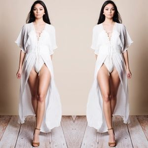 White Kimono Cut Out Waist Cover Up Duster