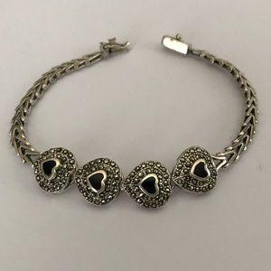 Vintage Jewelry - Sterling Silver Riccio Link Heart Bracelet