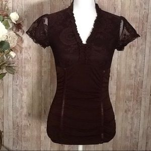 BCX Tops - 🌸 Summer Fitted Top BCX Size Small Brown Lace 💞