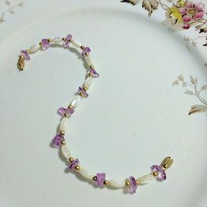 Freshwater Pearl White & Amethyst Bead Bracelet