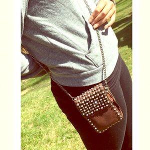 Handbags - Leather rhinestone studded belt pouch cross body