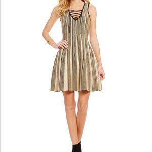 Chelsea & Violet Dresses & Skirts - Lace Up V neck Sparkle Knit Skater Dress