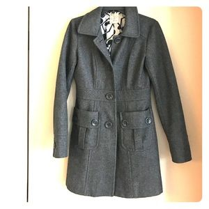 Grey Wool Peacoat by Tulle