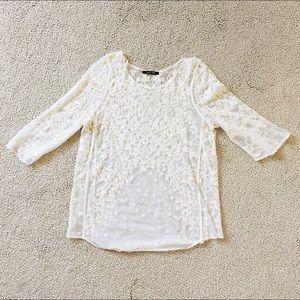 Zara Tops - NWOT✨ Mesh see-through white top with stars design