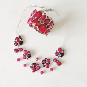 {inc} cranberry crystal necklace and bracelet